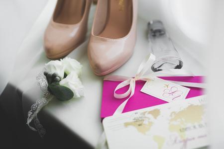 Beautiful stylish wedding shoes for bride. Close-up
