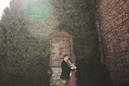 Luxury wedding couple hugging and kissing on the background gorgeous plants, cave near ancient