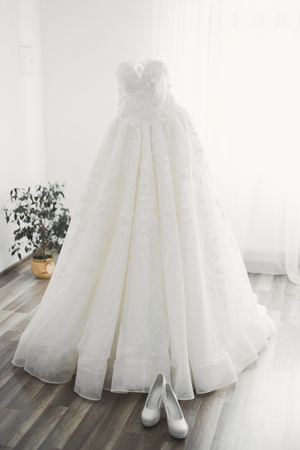 The perfect wedding dress in the room of the bride Stock fotó