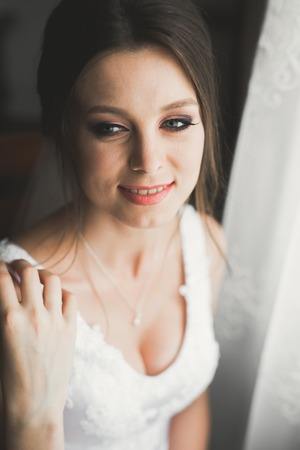 Gorgeous bride in robe posing and preparing for the wedding ceremony face in a room 写真素材