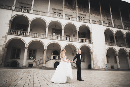 Gorgeous wedding couple walking in the old city Stock Photo