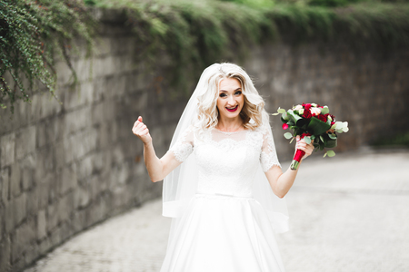 Beautiful luxury young bride in wedding dress posing in park