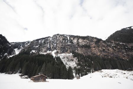 Beautiful winter wonderland scenery with trees and mountain tops in the Alps.