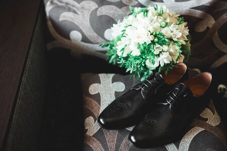 Set of mans fashion shoes and accessories. 스톡 콘텐츠