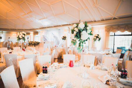 Interior of a restaurant prepared for wedding ceremony. Banco de Imagens