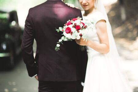 Perfecte paar bruid, bruidegom poseren en kussen in hun trouwdag. Stockfoto