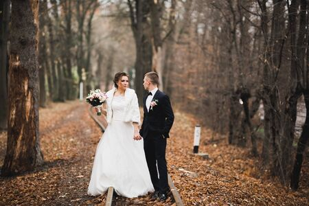 Happy wedding couple walking in a botanical park
