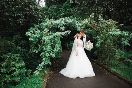 Romantic, fairytale, happy newlywed couple hugging and kissing in a park, trees in background