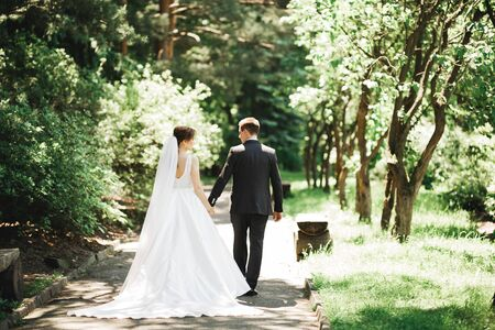 Happy wedding couple walking in a botanical park.