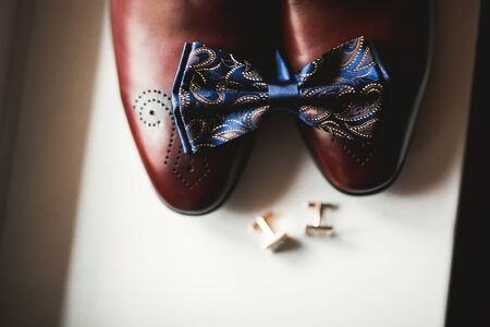 Mens accessories with luxury shoes. Top view.