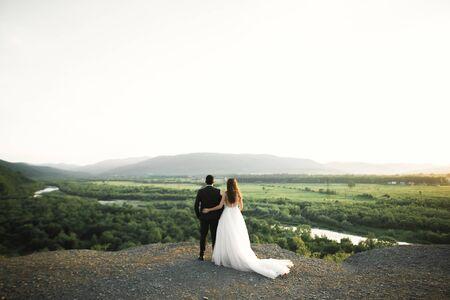 Beautiful wedding couple staying over beautiful landscape.