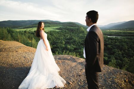 Sunshine portrait of happy bride and groom outdoor in nature location. 免版税图像