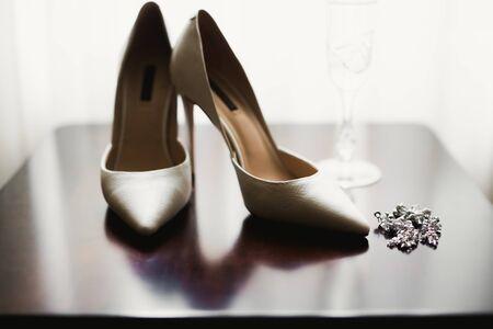 Pair of elegant and stylish bridal shoes.