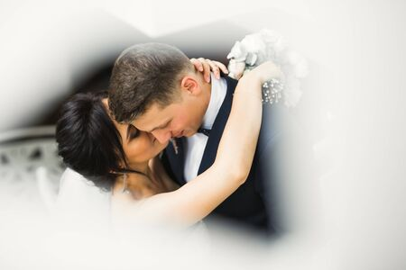 Beautiful bride and groom embracing and kissing on their wedding day. Standard-Bild