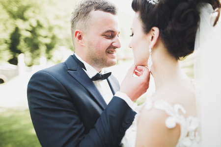 Stylish couple of happy newlyweds walking in the park on their wedding day with bouquet Banque d'images