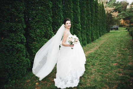 Beautiful bride in elegant white dress holding bouquet posing in park Banque d'images