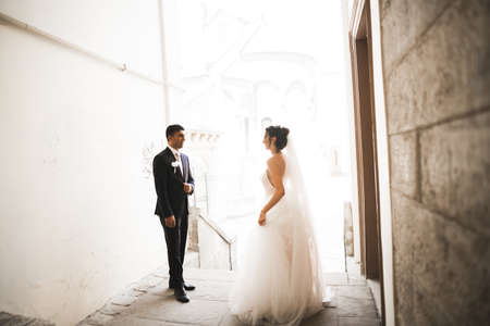 Gorgeous happy couple standing close to each other and looking in eyes at old city background, wedding photo, European city, wedding day in Lviv 免版税图像
