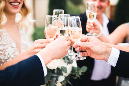Party with friends. Group of cheerful young people carrying sparklers and champagne flutes Stock Photo