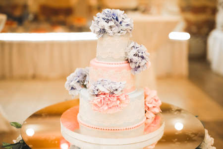 Luxury decorated wedding cake on the table 写真素材