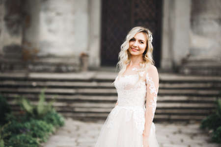 Portrait of stunning bride with long hair