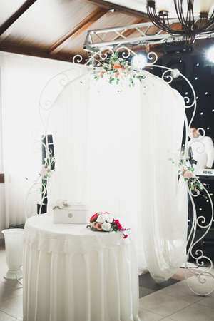 Decorations for the wedding ceremony. Beautiful flowers