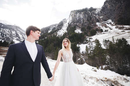 The couple, the bride and groom holding hands in the mountains