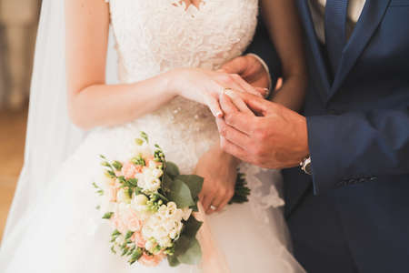 Bride and groom exchanging wedding rings. Stylish couple official ceremony