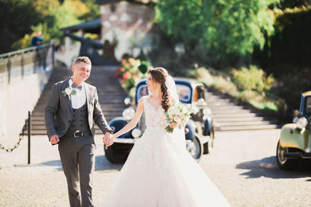 Wedding couple, beautiful bride and elegant groom holding hands and looking at each other near retro wedding car