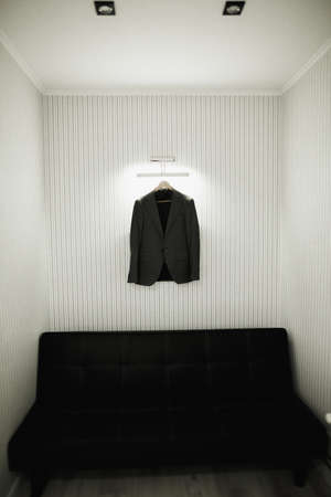 Stylish groom suit in dressing room indoors