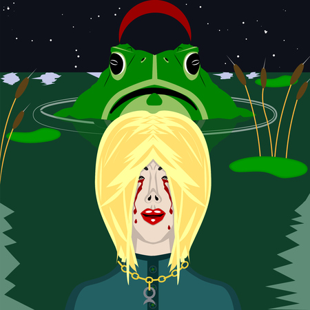 swamp: Color illustration of witch in the swamp