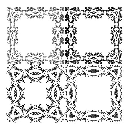 intricacy: Black and white square frame for a portrait Illustration