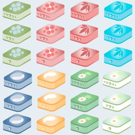 hard drive: Icons of twenty-four images hard drives of different colors and symbols