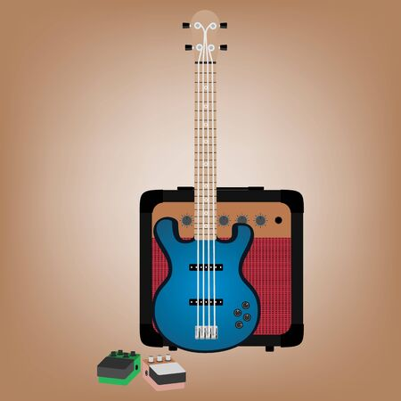 pedals: illustration of bass guitar, amp, pedals Illustration