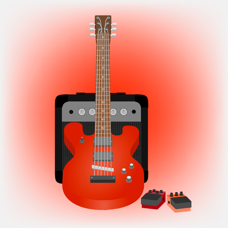 pedals: illustration of electric guitar, amp, pedals Illustration