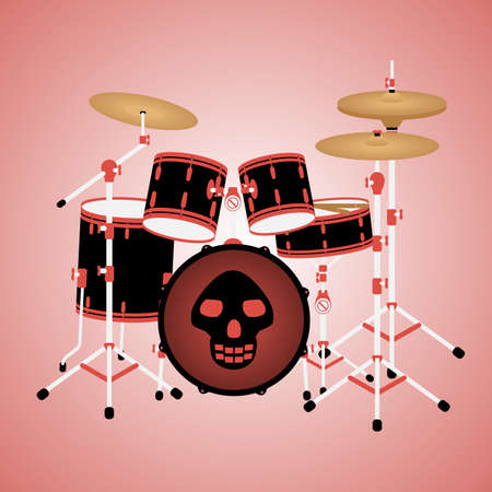 Illustration of red drum kit with a skull Illustration