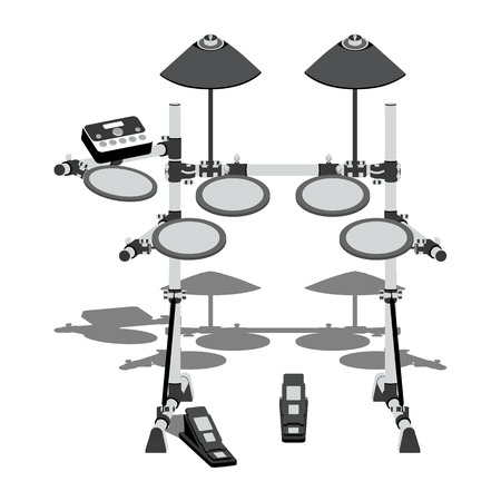 pedals: Illustration of electric drum kit with a controller and pedals Illustration