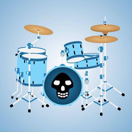 drum kit: Illustration of blue drum kit with a skull