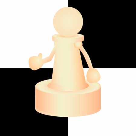 volumetric: Volumetric chess figure pawn with hands