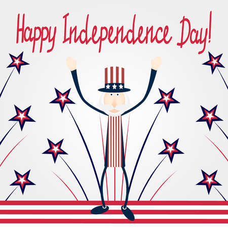 stars and stripes: Greeting Card on Independence day with stars, stripes and man Illustration