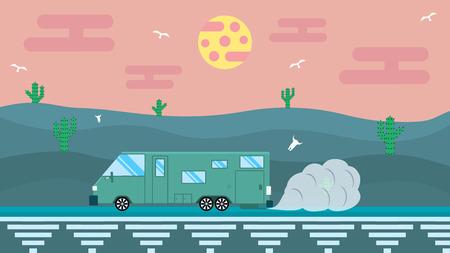 arizona sunset: Fantastic illustration in flat design travel in the desert in house on wheels