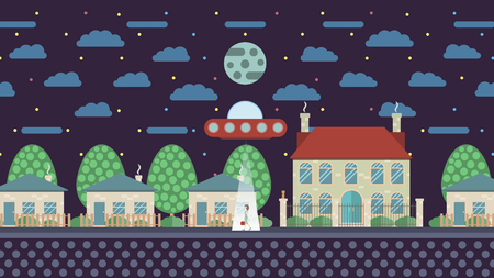 unexplained: Fantastic illustration in flat design UFO abducts a human on the street