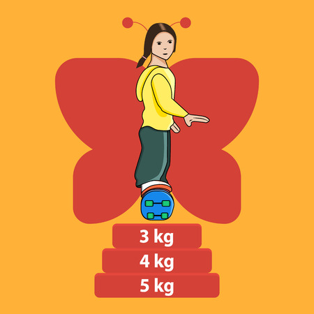 Illustration of woman on skateboard jumping through kilograms and butterfly silhouette behinde the back