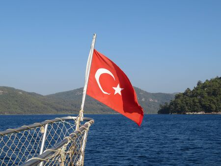 Turkish flag on the nose of the ship