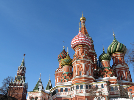 Red Square in Moscow. St. Basils Cathedral and Kremlin Banco de Imagens