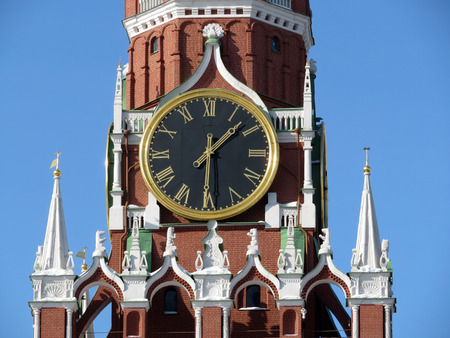 Chimes on the Spassky Tower of the Moscow Kremlin. Kremlin clock
