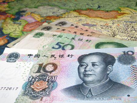 Yuan banknotes on the map of China