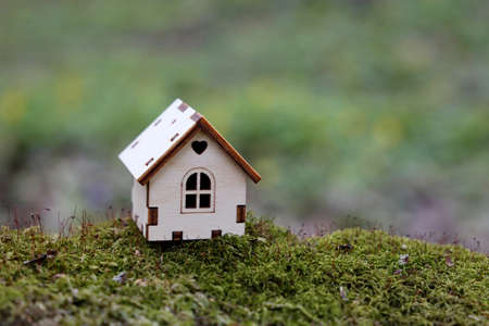 Wooden house model in a forest on mossy stump on blurred background. Concept of country cottage, real estate in ecologically clean area