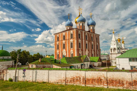 Cathedral of the assumption of the blessed virgin Mary of the Ryazan Kremlin on a Sunny summer day. Ryazan, Russia, June 2018 Stock Photo