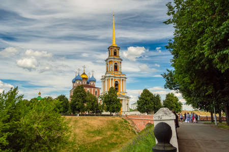 Bell tower Of the Cathedral of the assumption of the blessed virgin of the Ryazan Kremlin on a Sunny summer day. Ryazan, Russia, June 2018