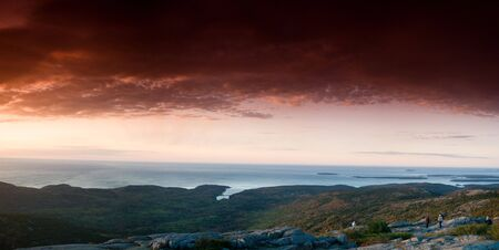 pano: dramatic sunrise on the mount, acadia national park, pano